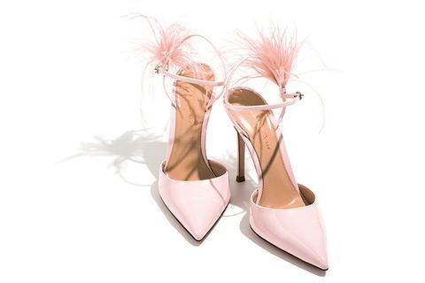 Footwear, Pink, White, Shoe, Slingback, Leg, Beige, High heels, Dress shoe, Court shoe,