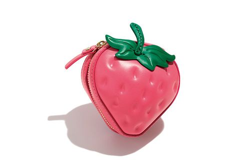 Strawberry, Strawberries, Fruit, Pink, Plant, Coin purse, Food, Fashion accessory, Produce, Vegetable,