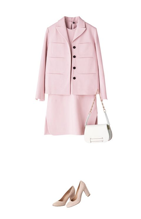 Clothing, Pink, White, Outerwear, Coat, Trench coat, Suit, Formal wear, Blazer, Footwear,