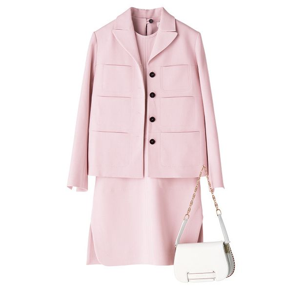 Clothing, Pink, Outerwear, Coat, Trench coat, Sleeve, Collar, Overcoat, Jacket, Button,
