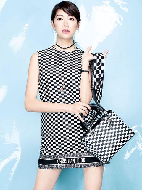 Clothing, Fashion model, Pattern, Shoulder, Waist, Dress, Neck, Polka dot, Sleeve, Design,