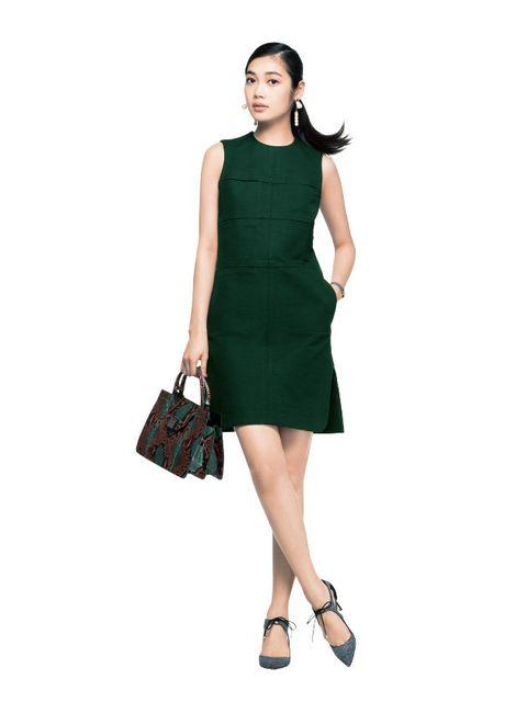 Clothing, Dress, Fashion model, Cocktail dress, Day dress, Green, Shoulder, Sleeve, Fashion, Neck,