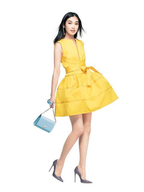 Clothing, Fashion model, Yellow, Dress, Cocktail dress, Shoulder, Fashion, Leg, Day dress, Waist,