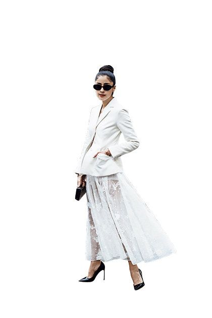 White, Clothing, Fashion, Outerwear, Eyewear, Footwear, Beige, Costume, Coat, Dress,