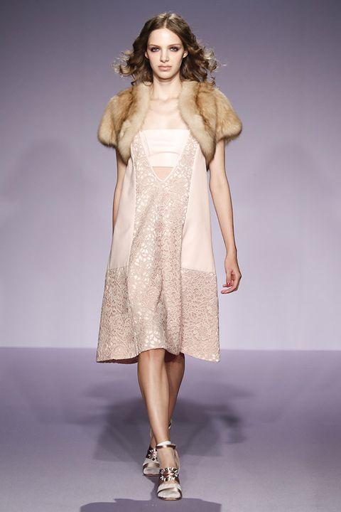 Fashion model, Clothing, Fashion, Fashion show, Dress, Shoulder, Runway, Haute couture, Cocktail dress, Long hair,