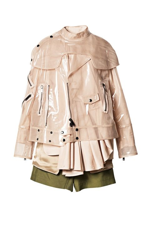 Clothing, Outerwear, Trench coat, Coat, Jacket, Sleeve, Beige, Leather, Leather jacket, Top,