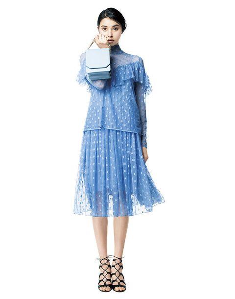 Clothing, Blue, Dress, Shoulder, Fashion model, Sleeve, Fashion, Neck, Waist, Footwear,