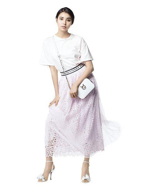 White, Clothing, Fashion model, Dress, Fashion, Shoulder, Waist, Joint, Fashion design, Footwear,