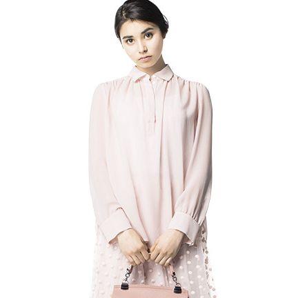Clothing, Sleeve, Fashion, Pink, Collar, Neck, Beige, Formal wear, Blouse, Dress shirt,
