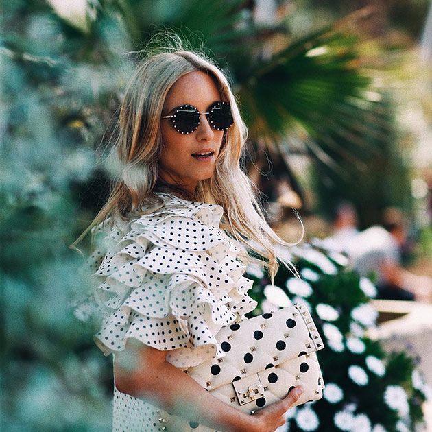 White, Clothing, Polka dot, Street fashion, Pattern, Fashion, Eyewear, Dress, Spring, Design,