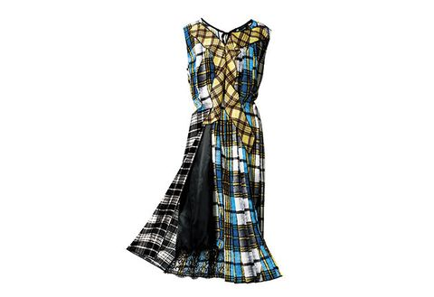 Clothing, Dress, Day dress, Pattern, Tartan, Plaid, Strapless dress, Turquoise, Gown, Textile,