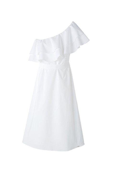 White, Clothing, Dress, Product, Day dress, Sleeve, Gown, Robe, A-line,