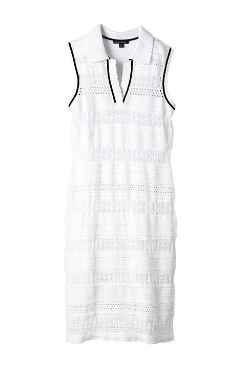 Clothing, White, Day dress, Dress, Sleeveless shirt, Sleeve, Outerwear, One-piece garment, Collar, Pattern,