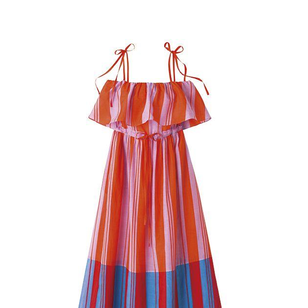Clothing, Orange, Day dress, Dress, A-line, Peach, Pattern, Pattern, One-piece garment, Costume,