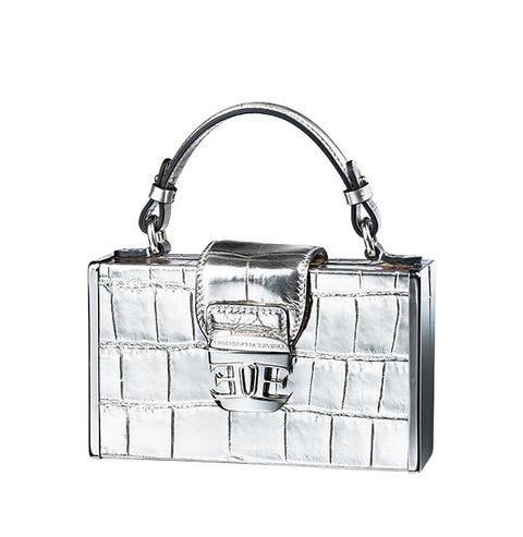 Handbag, Bag, Shoulder bag, White, Fashion accessory, Leather, Fashion, Design, Material property, Silver,
