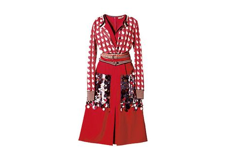 Clothing, Red, Sleeve, Dress, Outerwear, Robe, Costume, Pattern, Pattern, Day dress,