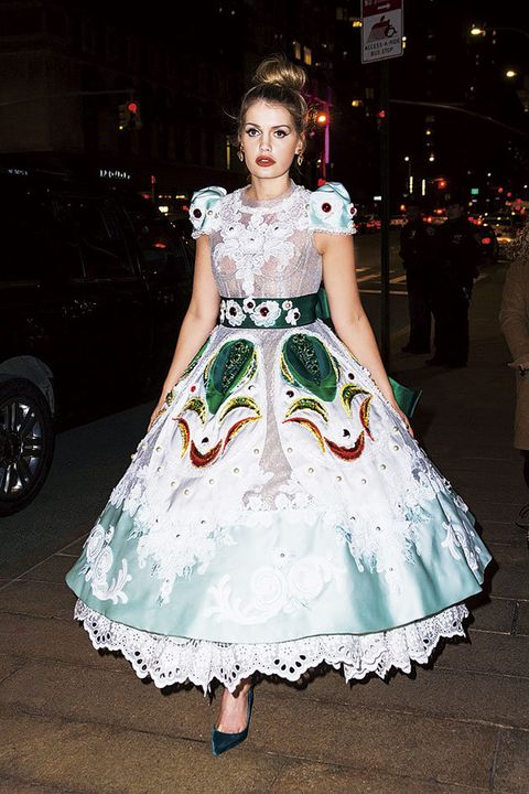 Clothing, White, Dress, Green, Fashion, Fashion model, Gown, Shoulder, hoopskirt, Waist,