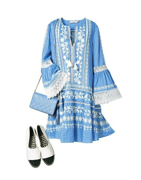 Blue, Clothing, White, Outerwear, Sleeve, Denim, Footwear, Dress, Textile, Jacket,