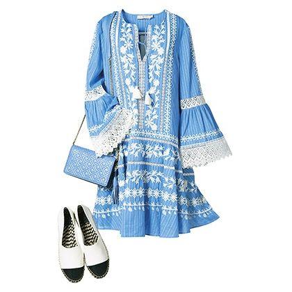 Clothing, Blue, White, Outerwear, Footwear, Dress, Fashion, Sleeve, Denim, Textile,