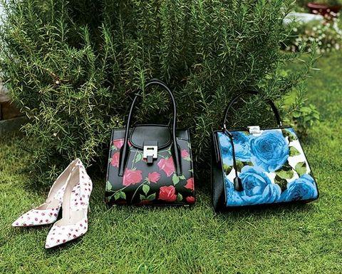 Bag, Handbag, Green, Grass, Fashion accessory, Design, Footwear, Lawn, Luggage and bags, Plant,
