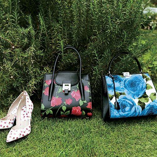 Bag, Handbag, Green, Grass, Fashion accessory, Lawn, Design, Footwear, Spring, Luggage and bags,
