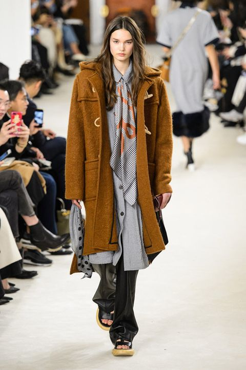 Fashion, Fashion model, Fashion show, Runway, Clothing, Street fashion, Outerwear, Coat, Footwear, Overcoat,