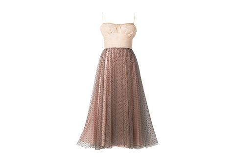 Dress, Clothing, Gown, Strapless dress, Bridal party dress, A-line, Day dress, Brown, Cocktail dress, Beige,