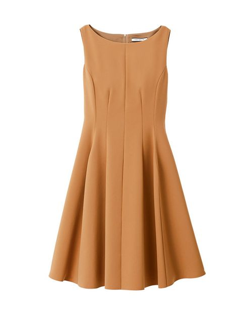 Clothing, Dress, Yellow, A-line, Day dress, Cocktail dress, Brown, Tan, Beige, Neck,