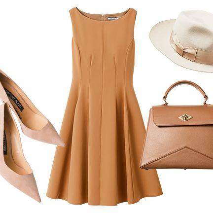 Clothing, Bag, Tan, Beige, Brown, Handbag, Dress, Footwear, Fashion accessory, Leather,