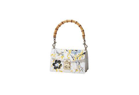 Handbag, Bag, White, Shoulder bag, Fashion accessory, Yellow, Tote bag, Beige, Luggage and bags, Pattern,
