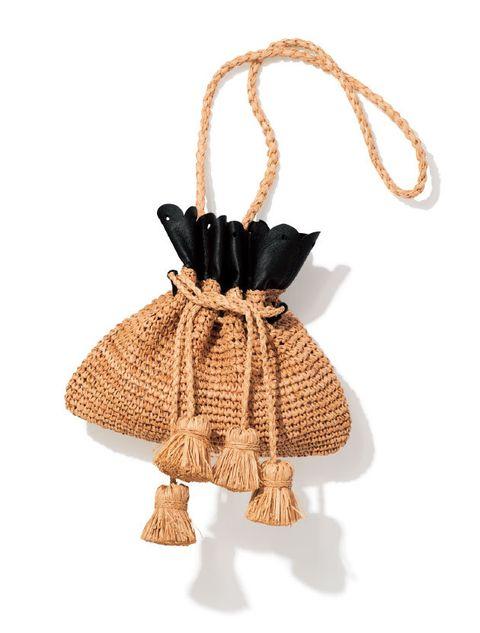 Bag, Beige, Fashion accessory, Wicker, Thread,