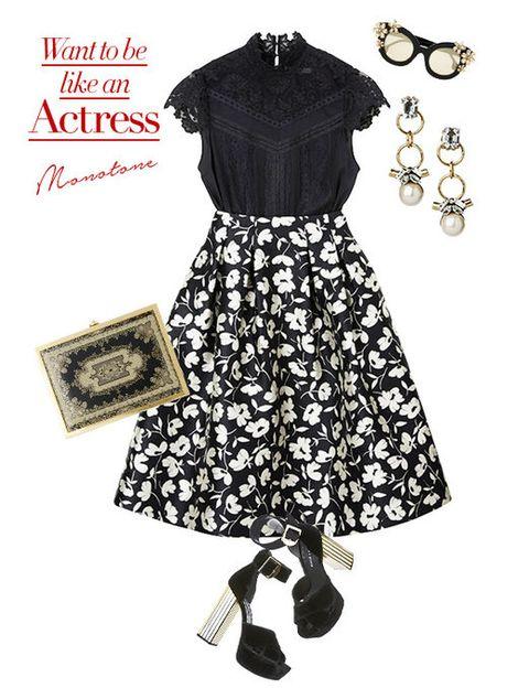 Clothing, Black, Dress, Day dress, Pattern, Fashion, Sleeve, Neck, Design, Footwear,
