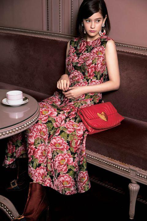 Clothing, Pink, Beauty, Skin, Purple, Fashion, Sitting, Dress, Formal wear, Magenta,