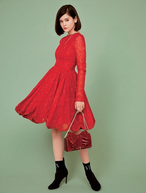 Clothing, Fashion model, Red, Dress, Shoulder, Footwear, Fashion, Maroon, Waist, Joint,