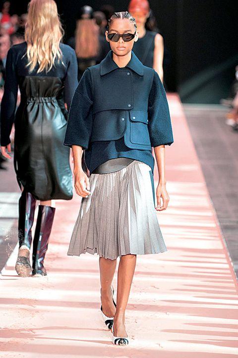 Fashion, Fashion model, Fashion show, Runway, Street fashion, Clothing, Eyewear, Sunglasses, Footwear, Spring,