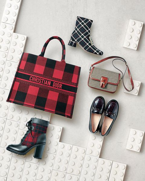 Plaid, Red, Footwear, Tartan, Pattern, Product, Design, Shoe, Font, Material property,