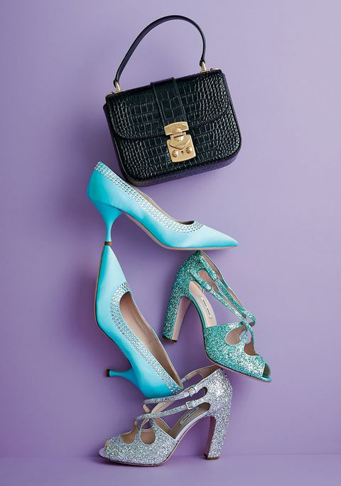 Turquoise, Footwear, Teal, High heels, Shoe, Fashion accessory, Bag, Turquoise, Handbag, Electric blue,