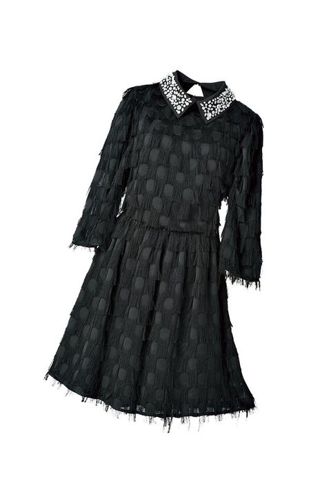 Clothing, Black, Sleeve, Dress, Day dress, Outerwear, Fashion, Little black dress, Collar, Victorian fashion,