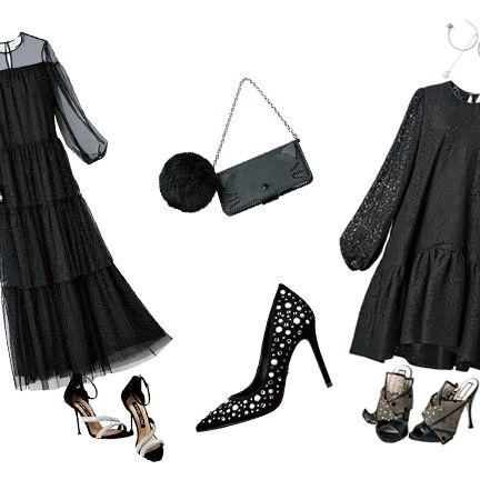 Clothing, Black, Little black dress, Fashion, Dress, Black-and-white, Design, Outerwear, Footwear, Costume design,