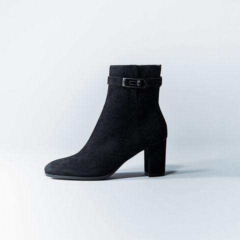 Footwear, Shoe, Black, Boot, Leather, Suede, Joint, High heels, Buckle,
