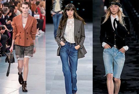 Fashion model, Clothing, Jeans, Fashion, Denim, Outerwear, Runway, Jacket, Blazer, Footwear,