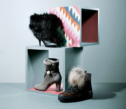 Footwear, Fur, Shoe, Pink, Boot, Room, Still life photography, Snow boot, Illustration, Art,