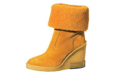 Footwear, Boot, Yellow, Shoe, Orange, Tan, Snow boot, Beige,