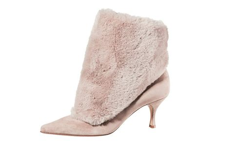 Footwear, Pink, Shoe, High heels, Beige, Court shoe, Boot, Leg, Fur, Ankle,
