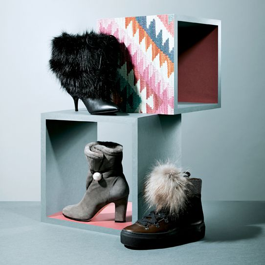 Footwear, Fur, Shoe, Boot, Room, Still life photography, Snow boot, Furniture, Illustration, Art,