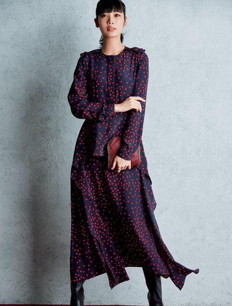 Clothing, Fashion model, Dress, Formal wear, Maroon, Fashion, Day dress, Pattern, Pattern, Textile,
