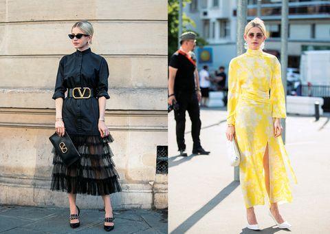 Clothing, Street fashion, Yellow, Fashion, Dress, Fashion model, Shoulder, Footwear, Haute couture, Waist,