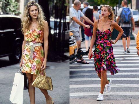 Clothing, Street fashion, Dress, Fashion, Footwear, Fashion model, Yellow, Shoe, Sandal, Shoulder,