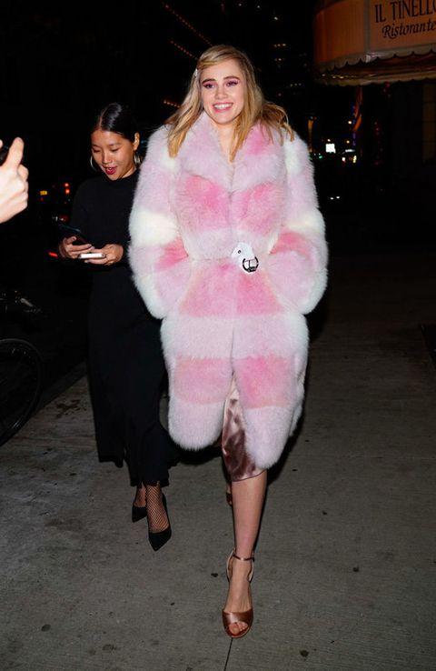 Fur clothing, Fur, Clothing, Pink, Fashion, Outerwear, Textile, Dress, Leg, Coat,