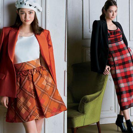 Clothing, Plaid, Tartan, Pattern, Street fashion, Orange, Fashion, Dress, Outerwear, Textile,